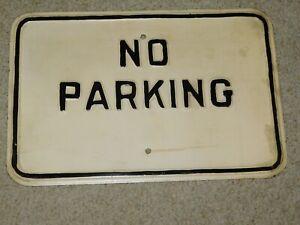 VINTAGE ORIGINAL ENAMEL NO PARKING SIGN