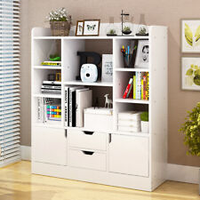 4 Tier Bookcase Bookshelf Shelving Cupboard Storage Cube Unit Drawers Door Shelf
