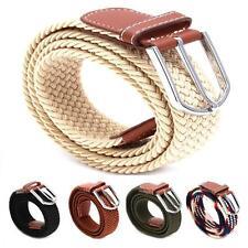 Mens Ladies Boys Unisex Elastic Stretch Woven Pin Buckle PU Leather Belts FM