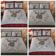 Rapport Angus Stag 100%Brushed Cotton Flannelette DuvetCover Bed Set Red Or Grey
