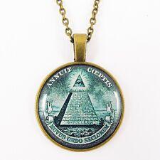 ILLUMINATI NECKLACE pyramid eye of providence dollar bill masons masonic bronze