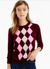 NWT J Crew Tippi Sweater in Argyle Pink/Burgundy F4949 size Large