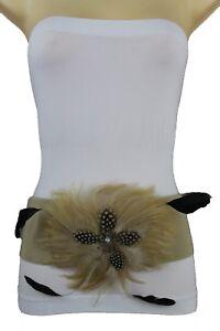 Women Beige Belt Fashion Hip Waist Big Long Feather Flower Buckle Plus M L XL