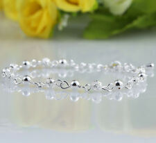 Women Ball Plated Silver Crystal Chain Bangle Cuff Charm Bracelet Jewelry Hot
