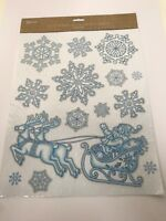 SANTA & Snow Flakes CHRISTMAS WINDOW STICKERS GLITTER DECAL VINYL DECORATIONS