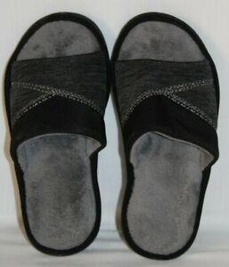 Isotoner Black Open Toe Slide Memory Foam Slide Slipper Womens Size XL 9.5-10