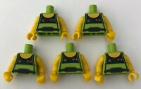 LEGO 5 x Torsos Weight Lifter Tank Top Lime Green Male Minifigure Torso Bundle
