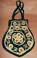 Vintage Green Velvet Celtic Design Handbag Clutch Bag - Irish Costume Purse Zip