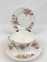 VTG Royal-Doulton Bone China Clovelly Tea Cup & Saucer + Dessert Plate Set (3pc)