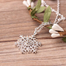 Charm Silver Frozen Snowflake Crystal Necklace Pendant Chain Christmas Gift Girl