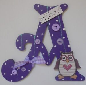 OWL Personalised *ANY LETTER & NAME* kids Childs Room Door Sign Plaque Purple