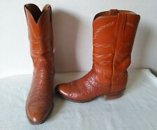 Awesome LUCCHESE Men's Peanut Ostrich Leather Western/Roper boots Size 9.5 D USA
