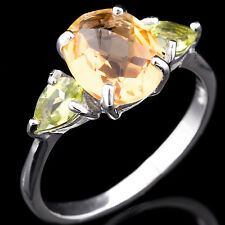 100% NATURAL 10X8MM CITRINE & PERIDOT GEMSTONE STERLING SILVER 925 RING SIZE 8