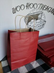"""50 Solid Dark Red Gift Kraft Bags 7.75"""" x 4.75"""" x 9.75"""" Any Occasion"""