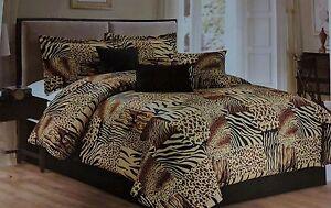 7PC Multi Animal Print Micro fur Comforter Set, Twin, Queen, King & Cal King