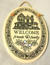 Welcome Friends & Family Oval Ceramic Sign Wall Art Decor Trinity Pottery Large