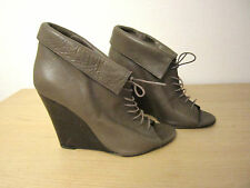 LADIES BERTIE LACE UP WEDGES ANKLE BOOTS LEATHER SIZE 6 39 BROWN HIGH HEEL SHOES