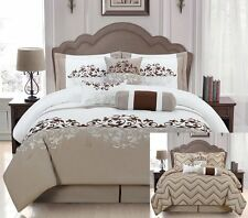 7 Pcs Reversible Taupe, White and Brown Comforter Bed set Queen Size