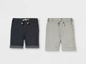 Toddler Boys 2 Pack Dressy Chino Shorts - Cat & Jack Gray/Navy 4T