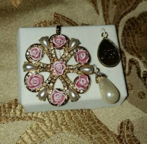 Avon Brooch/Pendant Rhinestones And Roses And Two Charm 2006 Set