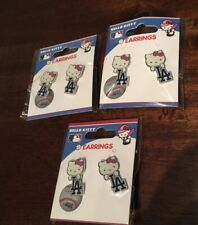 Los Angeles Dodgers Hello Kitty Post Earrings 3 Pair New In Package Free US Ship
