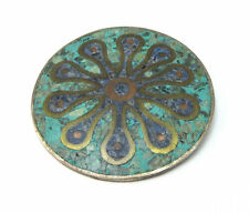 STERLING SILVER TURQUOISE & LAPIS STONE CHIP INLAY FLOWER BROOCH PIN ***