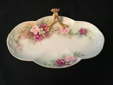 Limoges Antique Serving Dish with Handle Signed Pink Floral Gold Trim M. Roth