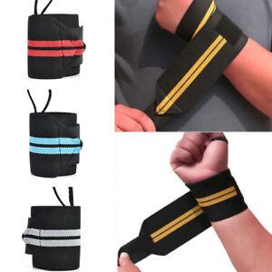Weight Lifting Bar Straps Gym Bodybuilding Wrist Support Bandage Knee Wraps Wrap