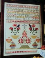 Cross Stitch Pattern MARYS SAMPLER Vintage Alphabet Numbers Birds Flowers Crown
