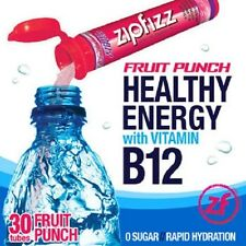 ZipFizz All Natural  Energy Drink Mix - FRUIT PUNCH (30 Tubes) * FREE SHIP *