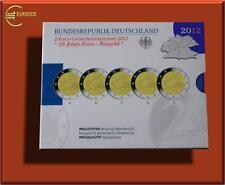 """5 x 2 Euro Deutschland 2012 in PP/Proof """" 10 J. Einführung des Euro """" A/D/F/G/J"""