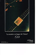 PUBLICITE ADVERTISING  1982   DUPONT   la montre en laque de Chine