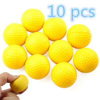 10 X Yellow Light Indoor Training Aid Practice Golf Sports Elastic PU Foam Balls