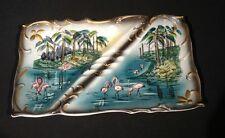 VTG Florida Ashtray Flamingos Palm Trees Mid-Century Kitschy Hand Paint Large