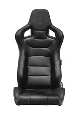 Cipher Auto Black Leatherette w/Black Stitching Premium Euro Racing Seats Pair