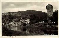 Dausenau Rheinland Pfalz s/w AK ~1940 Teilansicht mit schiefem Turm Flußpartie
