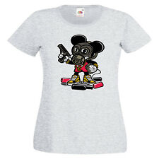 Gangsta Mouse Ladies PRINTED T-SHIRT Cartoon Funny Mashup Gangster Mickey Crime