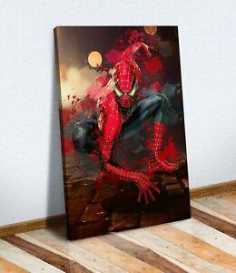 CANVAS WALL PRINT ARTWORK SPIDERMAN SPLASH ART MOVIE MARVEL KIDS BEDROOM