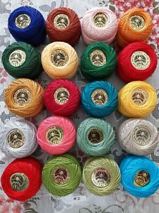 DOMINO & Madam Tricote COTTON PERLE No:12 SOLID AND VARIEGATED COLORS UK STOCK