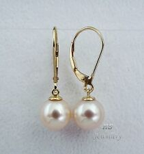 HS Round South Sea Cultured Pearl 10mm 14K Yellow Gold Hoop Earrings Top Grading