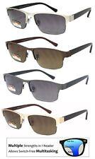 Metal Frame Progressive Reading Sunglasses 3 Strengths in 1 Reader Half Rim