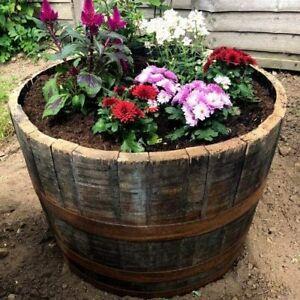 Large Oak Whisky Barrel Planter Wooden Whiskey Container Garden Flower Pot Tub