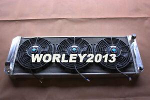 3 core aluminum radiator + fan for LOTUS Esprit S4 SE S4s V8 GT GT3 1988-2004 MT