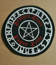 Heathen Heart Pagan Pride STAR pentagram back white and red with runes PATCH SCA