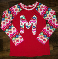 Justice Red M Snowflake Christmas Girl's 8/10 Top Long Sleeve Shirt