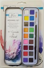Aquarellfarben-Set - 18 Farben + 1 Pinsel in Blechdose - Premium Qualität