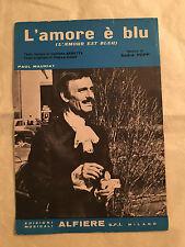 SPARTITO MUSICALE L'AMORE E' BLU L'AMOUR EST BLEU PAUL MAURIAT  1967 POP