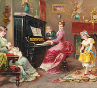 Antique Decker Piano NY Victorian Parlor Music Dancer Big Advertising Trade Card