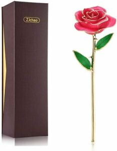 ZJchao 24k Gold Dipped Real Rose Flower Anniversary Birthday Gift Present PINK