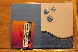 5 Doppel - Grußkarten - Weihnachtskugeln blau gold mit Umschlag - basteln